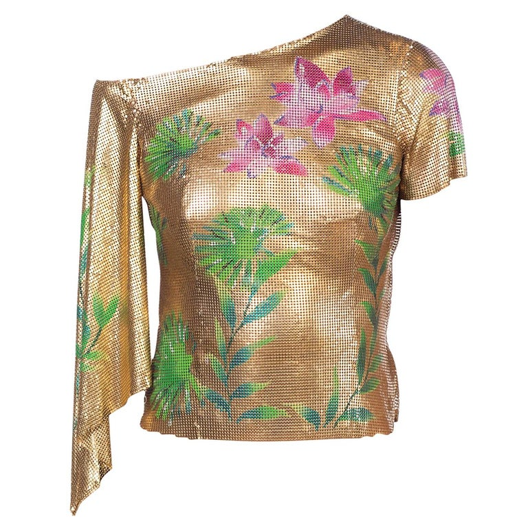 Versace 2000 JLo Collection Tropical Gold Metal Mesh Top For Sale