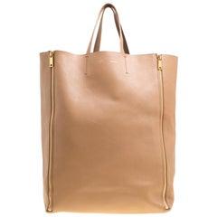 Celine, braunes Leder vertikaler Reißverschluss, Zwickel, Cabas Einkaufstasche