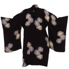 1940s Black Silk with Chrysanthemums Japanese Kimono