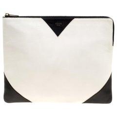 Celine weiß/schwarz Leder große Coeur Clutch-Handtasche
