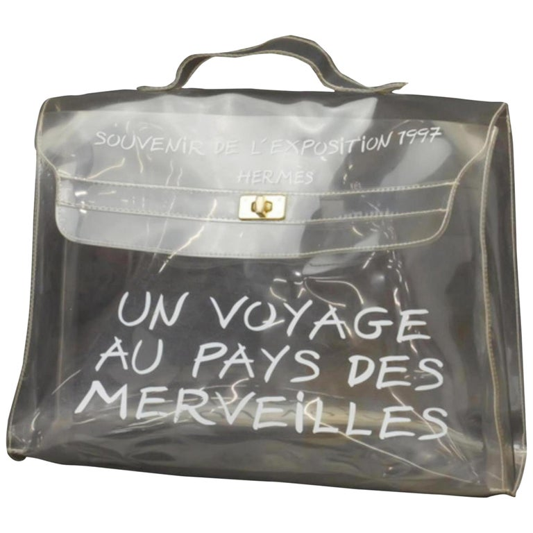49f1b4baf5d1 Hermès Kelly Limited Edition Clear L exposition 1997 40cm 230164 White Vinyl  Mes For Sale