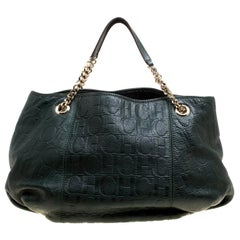 Carolina Herrera Black Monogram Leather Poppy Hobo