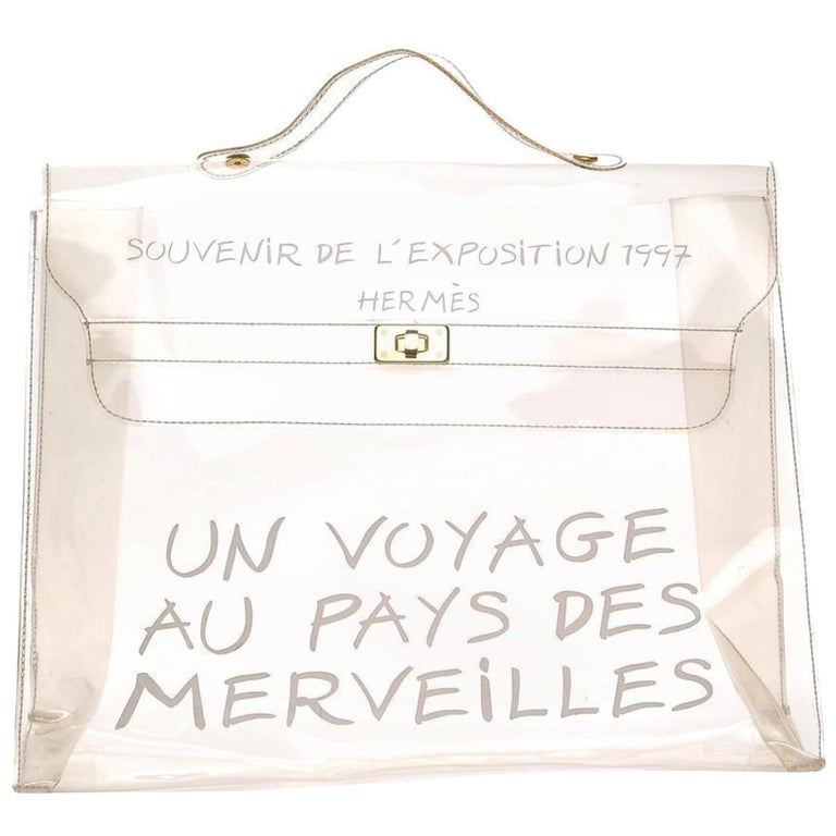 be4c02722814 Hermès Kelly Souvenir De L exposition Transparent 230179 White Vinyl  Satchel For Sale