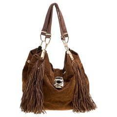 Celine Brown Suede Fringed Dimitri Hobo
