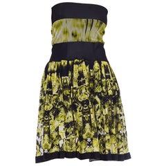 1990S JEAN PAUL GAULTIER Black & Green Poly/Lycra Net Tie Dye Strapless Dress