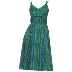 1950S Blue & Green Cotton Nani Of Hawaii Shelf Bust Tiki Dress