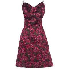 1950S Cranberry Red & Black Silk Satin Floral Ikat Cocktail Dress