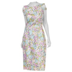 1950S Baby Pink Floral Cotton Sateen Dress With Crystal & Pearl Details