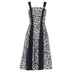 1950S Black & White Printed Cotton Fit Flare Dress