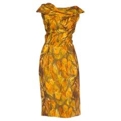 1950s Floral Silk Chiffon Dress Lined In Silk