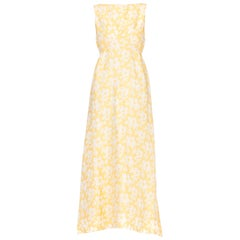 1960s Summer Formal Yellow Floral Gown