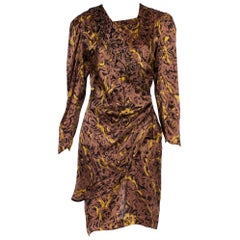 1980S Brown & Black Silk Charmeuse YSL Style Draped Long Sleeve Dress With Asym