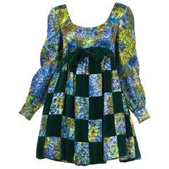 1960S MALCOLM STARR Blue & Green Rayon/Lurex Velvet Patchwork Baby Doll Mini Co