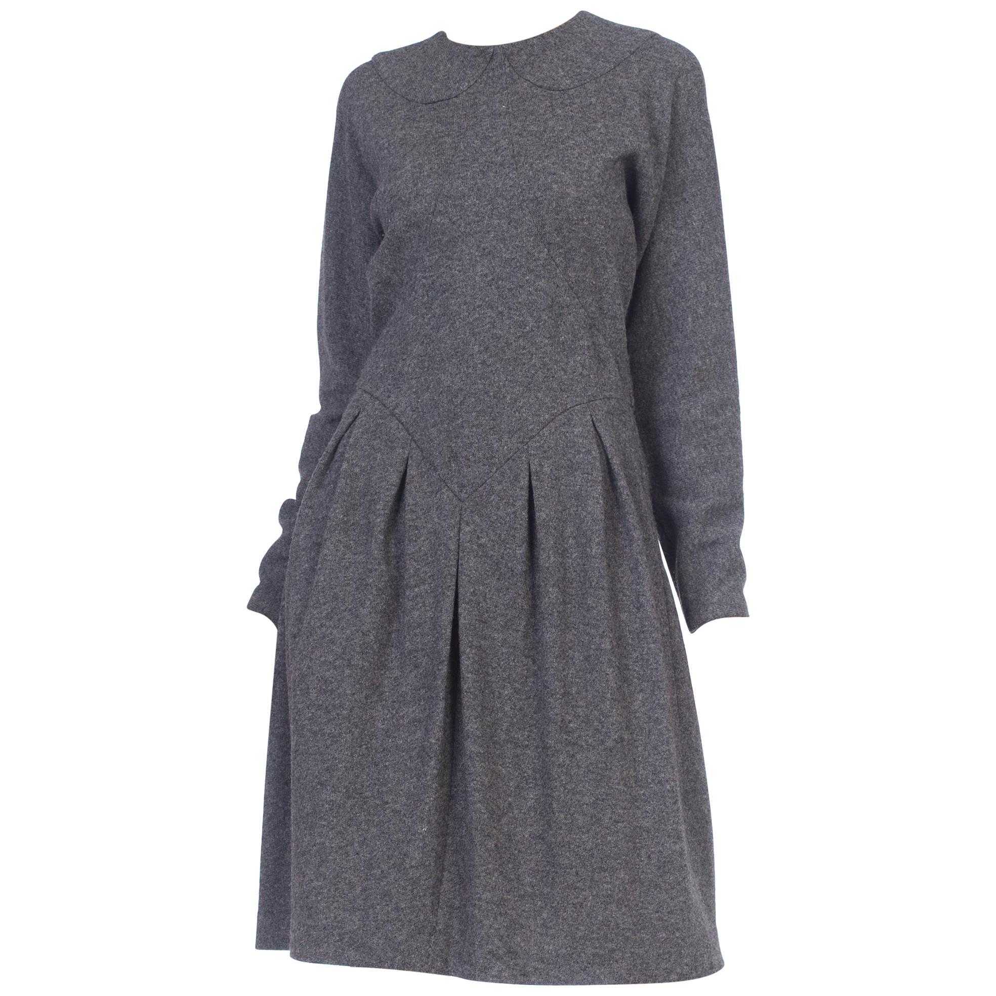 1980S GEOFFREY BEENE Grey Wool Knit Long Sleeve Sweater Dress With Partial Silk