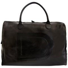 Delvaux Taxi Black Leather Large Travel Bag