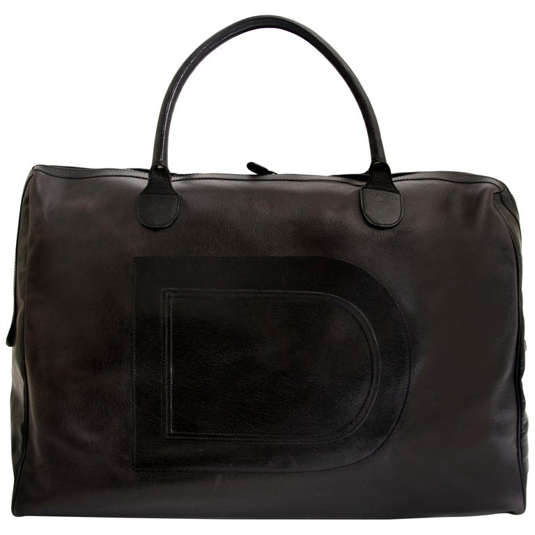 Delvaux Taxi Black Leather Large Travel Bag 1