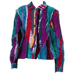 1990s Chenille Embroidered Tie Dye Denim Jacket
