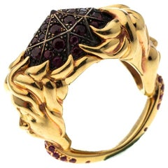 Boucheron Ruby Carved Face 18k Yellow Gold Dome Cocktail Ring Size 52.5