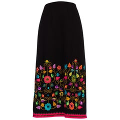 1970s Folk Embroidered Wool Skirt