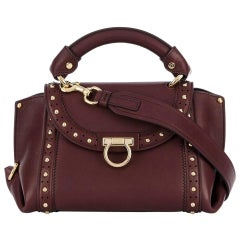 Ferragamo Red Small Studded Leather Sofia Satchel