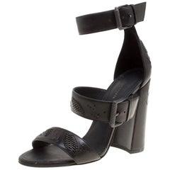 Bottega Veneta Embroidery Stitch Detail Block Heel Ankle Strap Sandals Size 37.5
