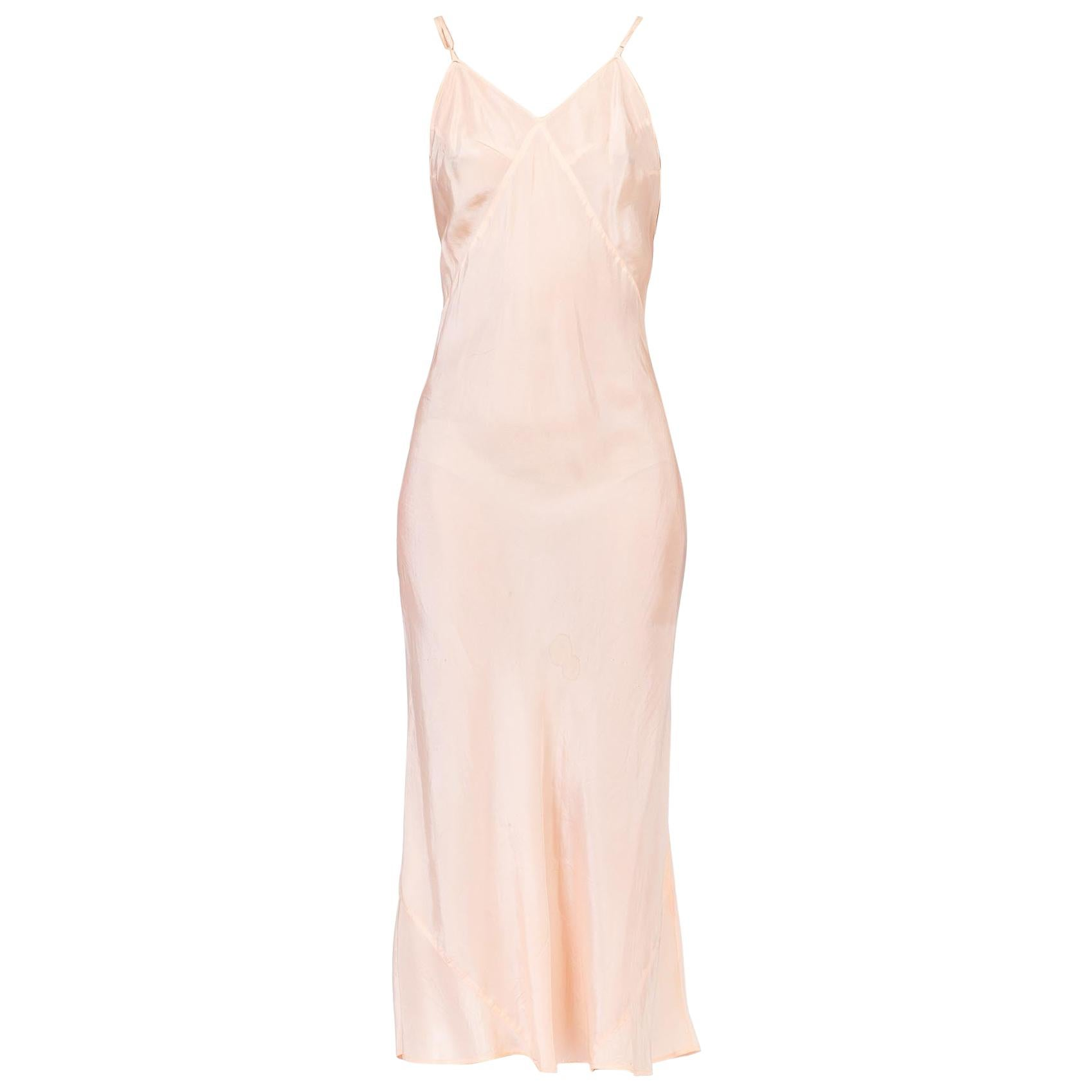 1930S Blush Pink Bias Cut Silk Crepe De Chine Rare Low Back Slip Dress