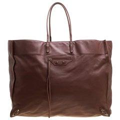 Balenciaga Braune Leder Papier A3 Tasche