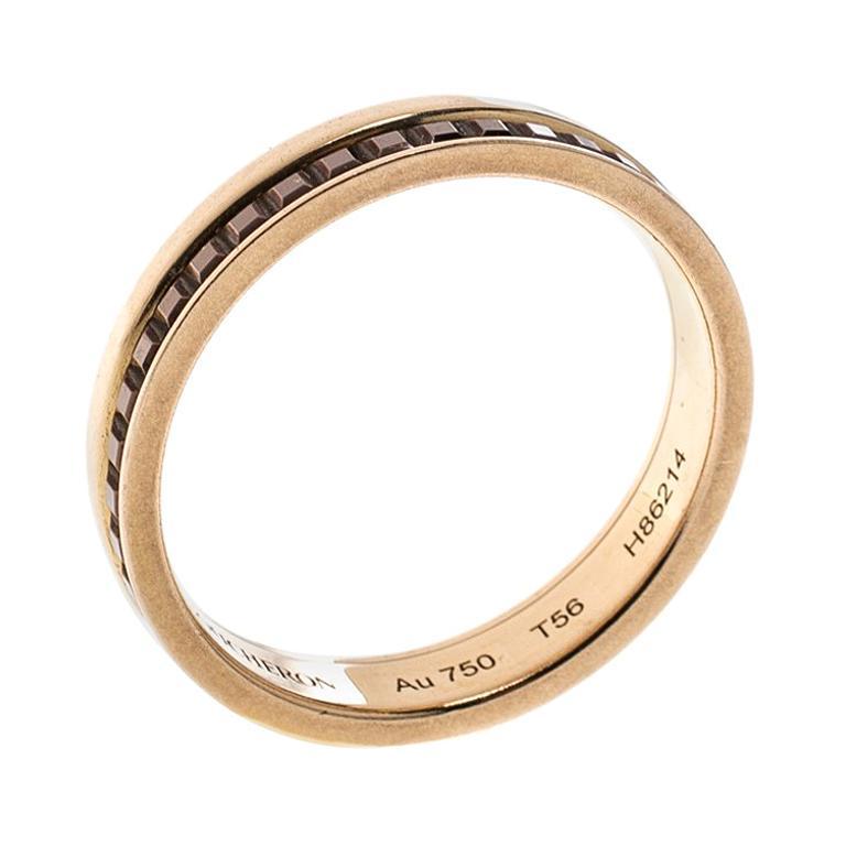 cf94dcb986054 Boucheron Quatre Classique Brown PVD & 18k Rose Gold Band Ring Size 56