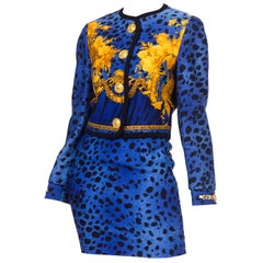 1990S GIANNI VERSACE Blue Baroque Leopard Print  Skirt Suit With Gold Chain Har