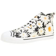 Burberry Schwarze Floral Bedruckte Canvas Kingly High Top Sneakers Größe 43