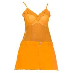 JPG Jean Paul Gaultier 1990s Orange Denim & Sheer Slip Dress