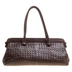 Bottega Veneta Brown Intrecciato Leather Frame Satchel