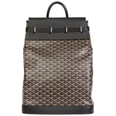 2010 Goyard Black Chevron Coated Canvas Steamer