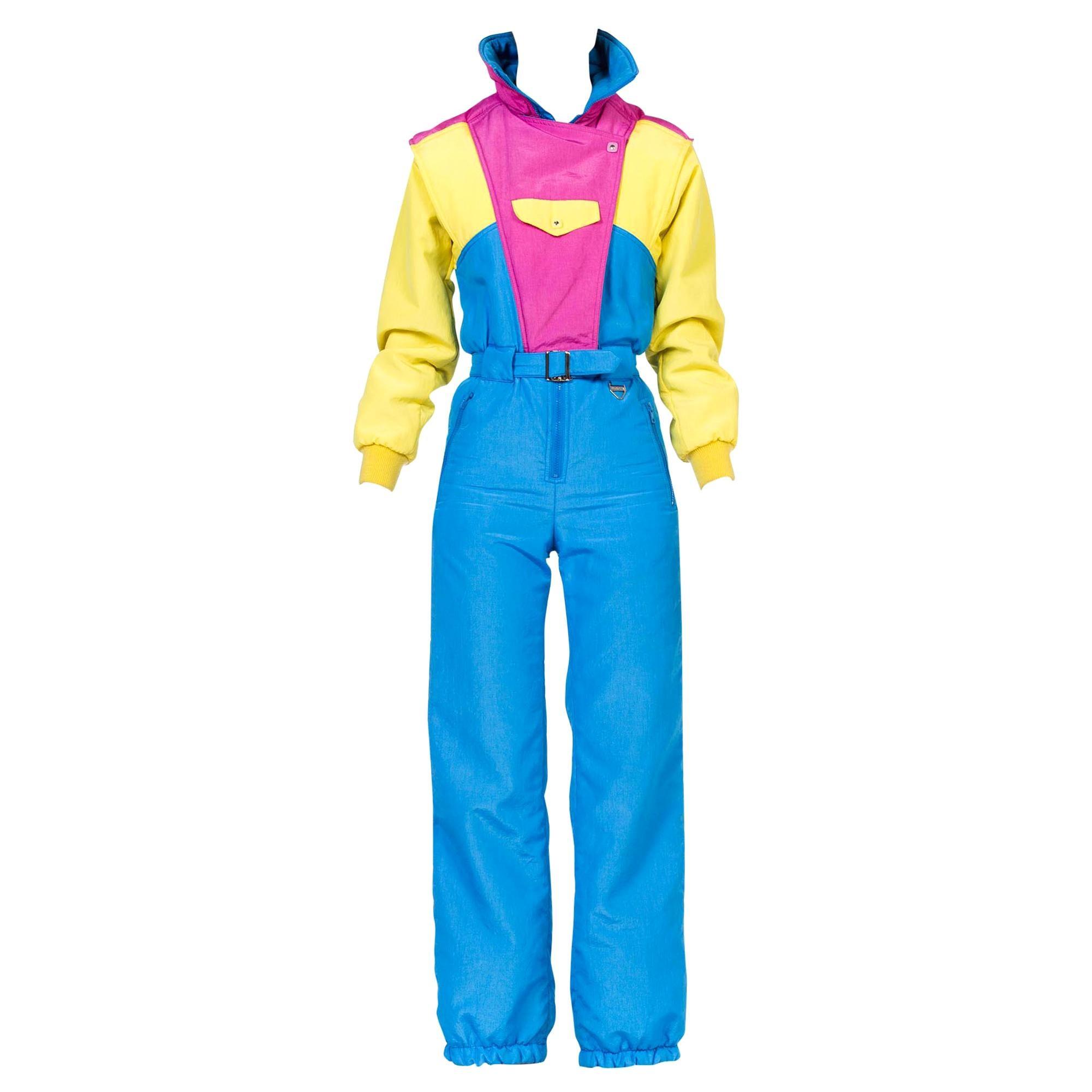 1980S Neon Hot Pink , Aqua & Yellow Nylon Puffer Ski Jumpsuit