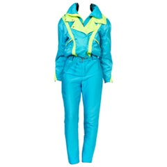 1980 - 1990s Neon Ski Suit with Shoulder Pads