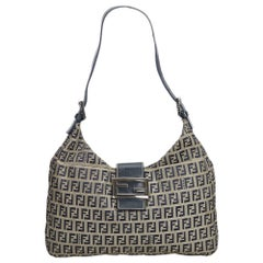 Fendi Gray Zucchino Canvas Shoulder Bag