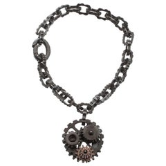 Bottega Veneta Brown Gear Chain Silver Link Bracelet S