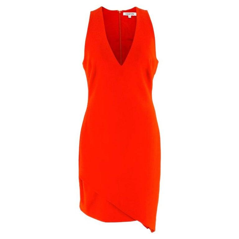 Elizabeth and James Red Asymmetric Sheath Midi Dress US 4 For Sale