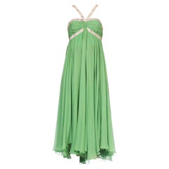 Late 1960s Size 8 Green Chiffon Gown with Floral Bows