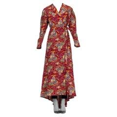 Rare 1940s Cold Rayon Asian Printed Robe Wrap dress