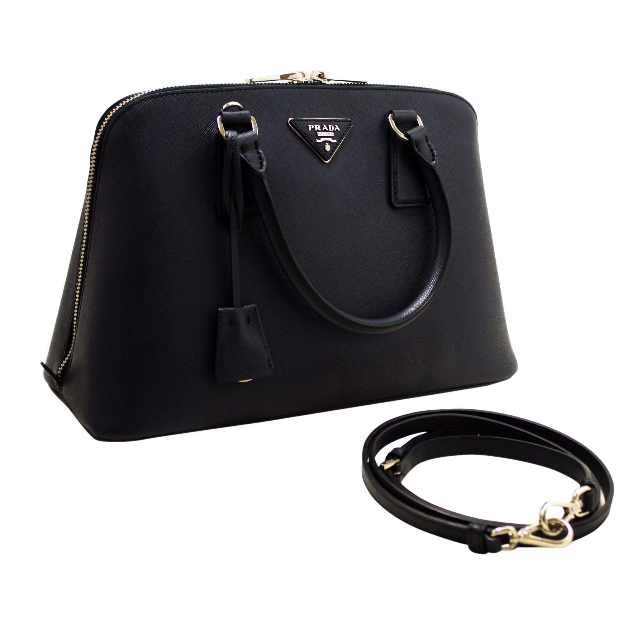 5eaae4081e69e PRADA Saffiano Lux Shoulder Bag Handbag Navy Leather Strap Silver