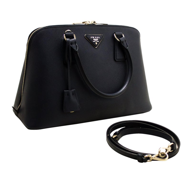 46d4b6bb3cff PRADA Saffiano Lux Shoulder Bag Handbag Navy Leather Strap Silver For Sale