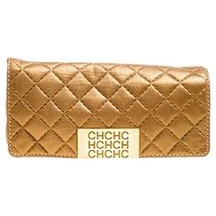 Carolina Herrera Gold Quilted Leather Clutch