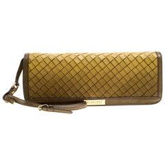 Burberry, gelbe/Khaki, Ombre Web-Muster, Leder Clutch-Handtasche