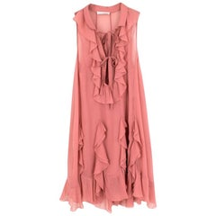 Chloe Pink Silk Ruffled Midi Dress US US 0-2