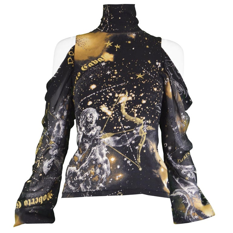 Roberto Cavalli Astrology Print Black Stretch Silk Chiffon Cold Shoulder Blouse For Sale