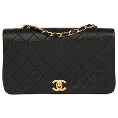 1991 Chanel Black Quilted Lambskin Vintage Small Classic Full Flap Bag