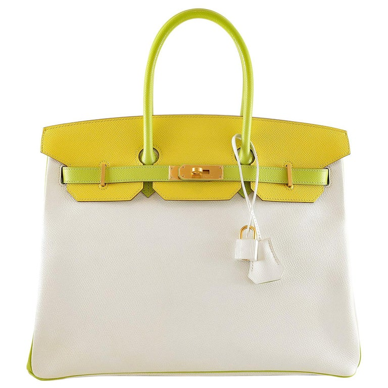 12519fed4d32 Hermès Candy Collection 35 cm Tri Color Epsom Horseshoe Birkin Bag For Sale  at 1stdibs