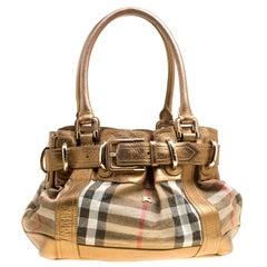 Burberry Metallisch Goldene Leder und House Karierte Stoff Tasche