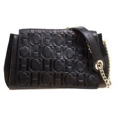 Carolina Herrera Black Nubuck and Monogram Leather Shoulder Bag